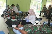 Prajurit dan Persit Yonif MR 413 Kostrad Sumbangkan Darah Di Sukoharjo