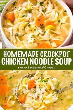 The Best Homemade Crockpot Chicken Noodle Soup Recipe