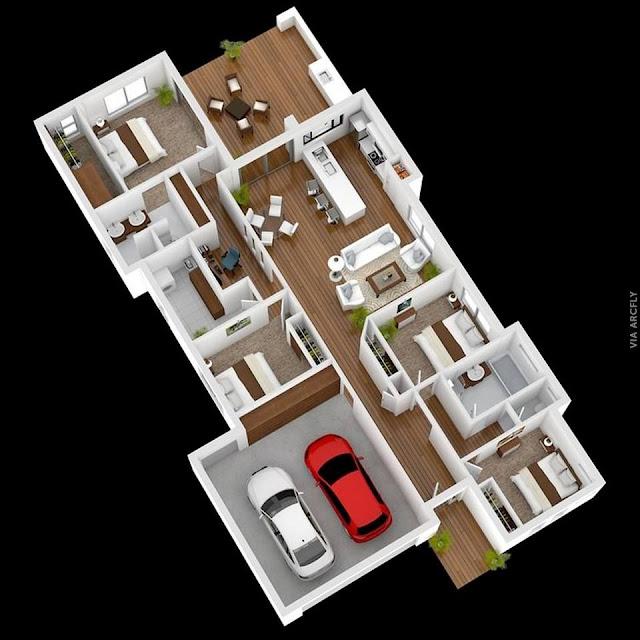 Desain Rumah Minimalis Modern 1 Lantai 4 Kamar Tidur