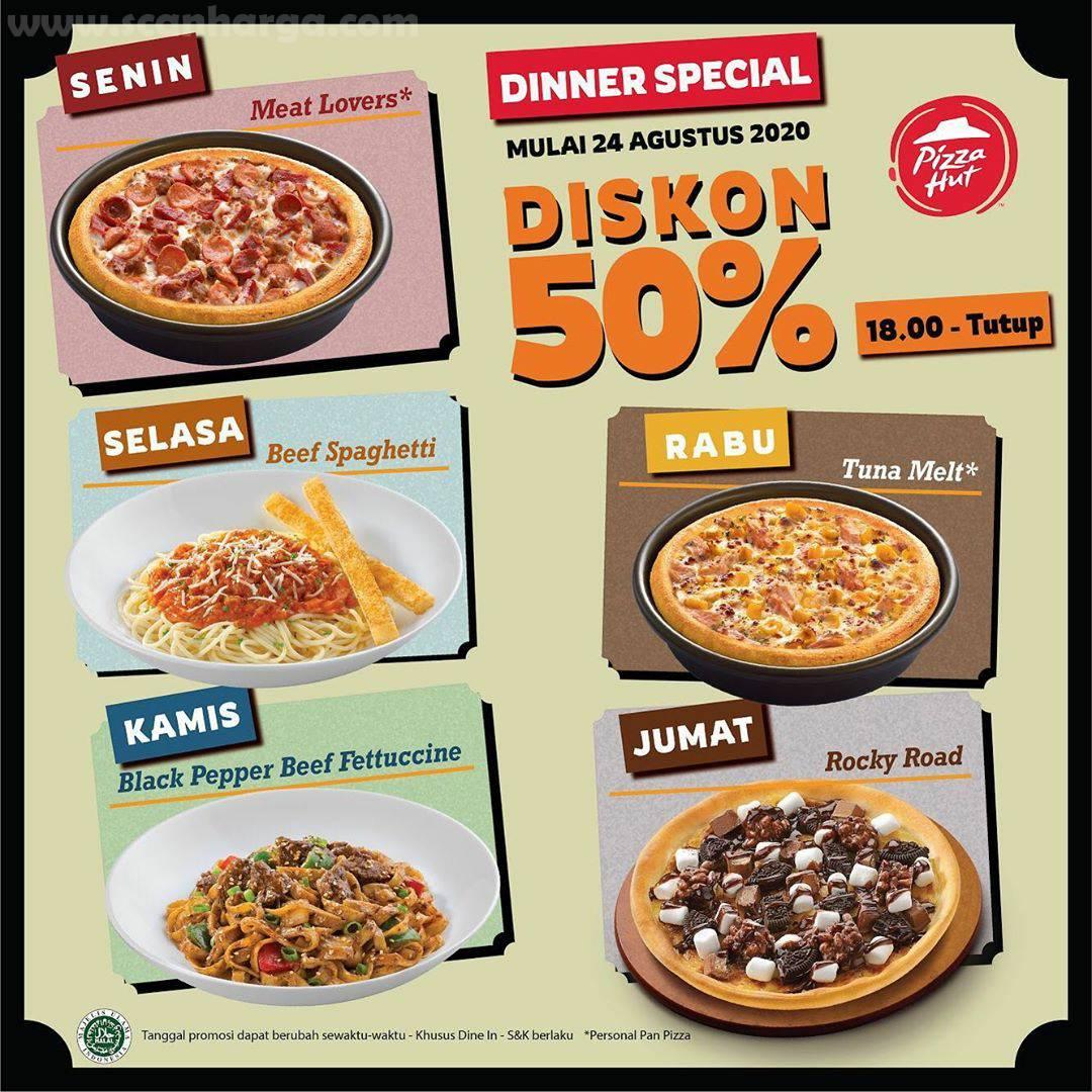 Promo Pizza HUT Dinner Special Diskon 50% Setiap Senin - Jumat* Mulai 24 Agustus 2020!