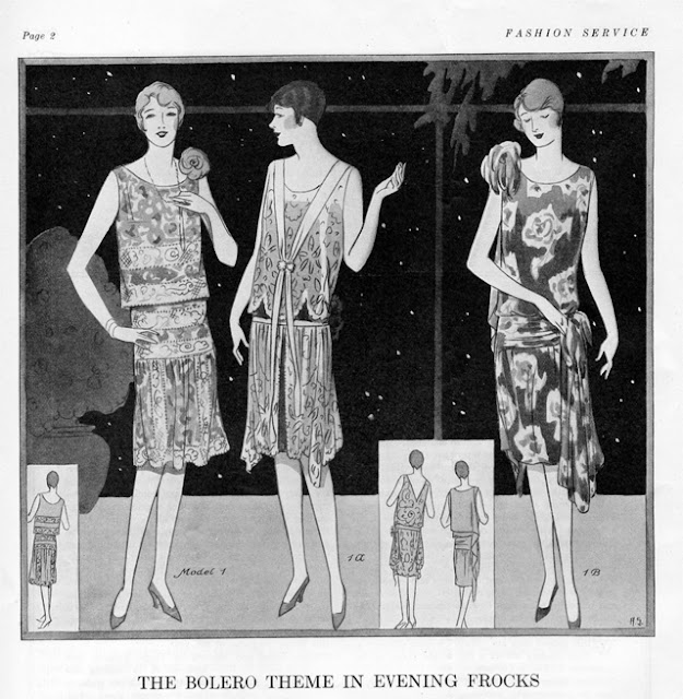 Fashion Service Magazine July 1927 sleeveless knee length evening dresses