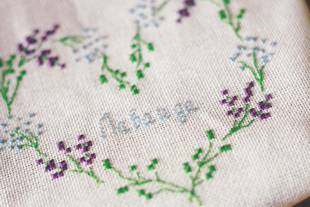 "Венок-сердце ""Лаванда"" + схема вышивки крестом |  Heart-wreath ""Lavender"" + cross stitching pattern"
