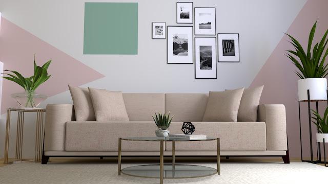 Sofa sederhana berwarna monokrom-pastel