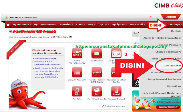 Cara Tukar Limit Debit Card Cimb