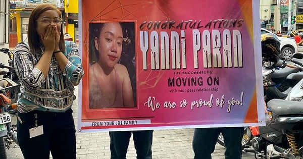Girl pranked by friends with tarpaulin after finally 'moving on' from break-up