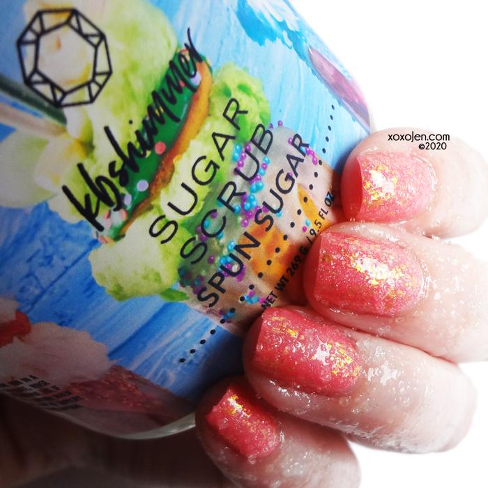 xoxoJen's swatch of KBShimmer Spun Sugar sugar scrub