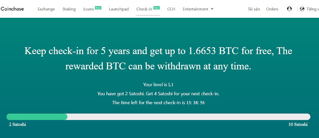 Check in and get bitcoin free
