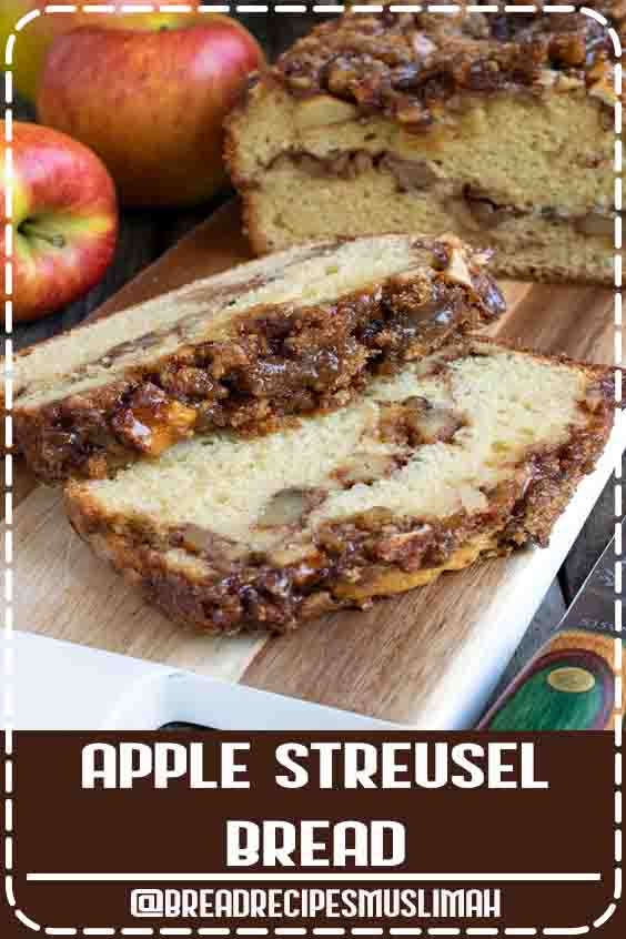 Our Apple Streusel Bread is a sweet cake-like bread with a layer of apple chunks and walnuts in middle and topped with a cinnamon streusel. #baking #apples #applerecipes #streusel #dessert #Fruit #Bread #Recipes