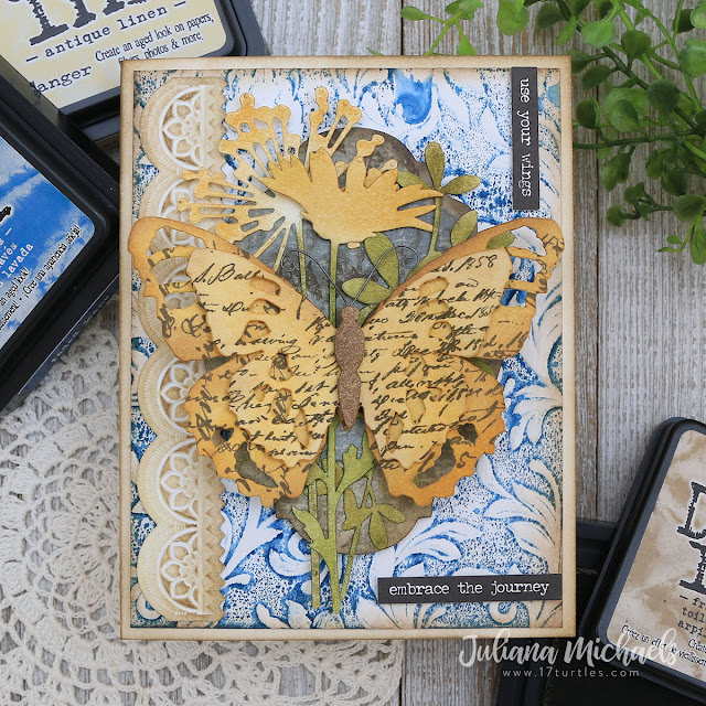 Embrace The Journey Card by Juliana Michaels featuring Tim Holtz Sizzix Wildflower Stems 2, Tattered Butterfly, Botanical Embossing Folder and Mini Scallop 3D Impresslit