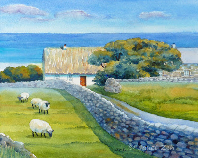 Aran Islands Thatched Cottage watercolor painting size 8x10