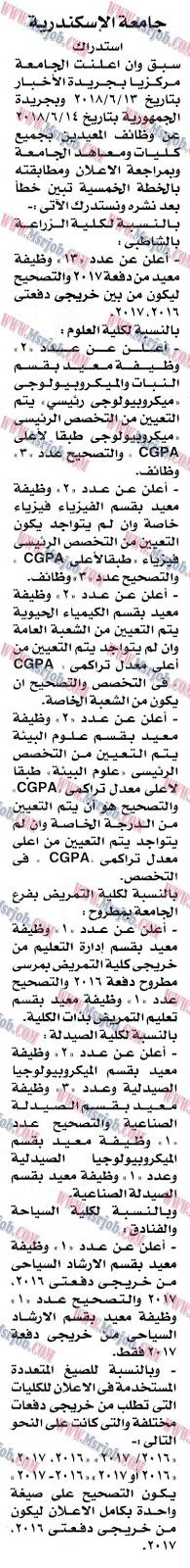 استدراك هام بخصوص اعلان وظائف جامعة الاسكندرية منشور بالاخبار 24 / 6 / 2018