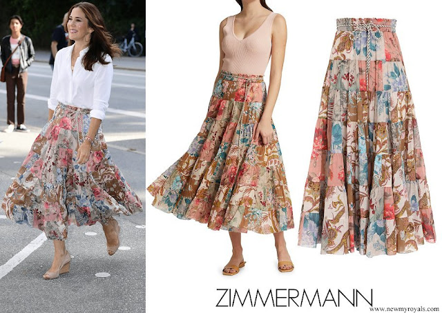 Crown Princess Mary wore Zimmermann Cassia Patch Midi Skirt
