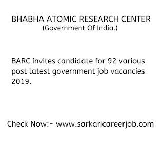 BARC Recruitment for 82 posts latest government job vacancies.