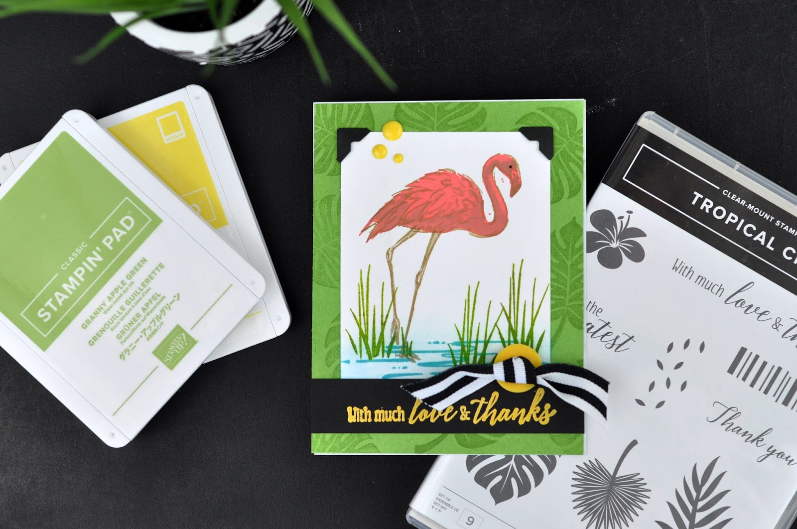 Stampin' Up! Flamingo Thank You Card. Stamped card featuring Stampin' Up! inks and stamps. Jen Gallacher uses a Stampin' Up! set to create a beautiful flamingo card. #stamping #cardmaker #stampinup #jengallacher #sctmagazine