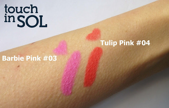 Touch in Sol One Second Vivid Lip Crayon in #4 Tulip Pink and #3 Barbie Pink, indirect, outdoor sunlight swatches by Valentina Chirico