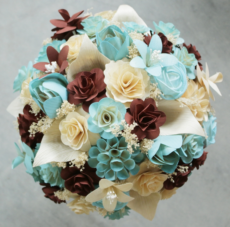 Brown Wedding Flowers: Rust Brown, Blush Blue And Ivory Wedding Bouquet And