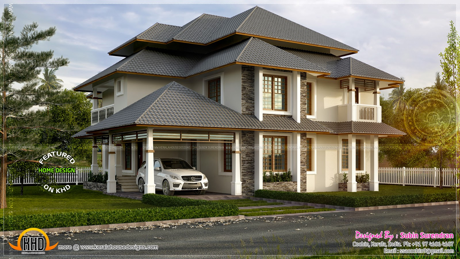 Beautiful modern  traditional mix home  Kerala home design and floor plans