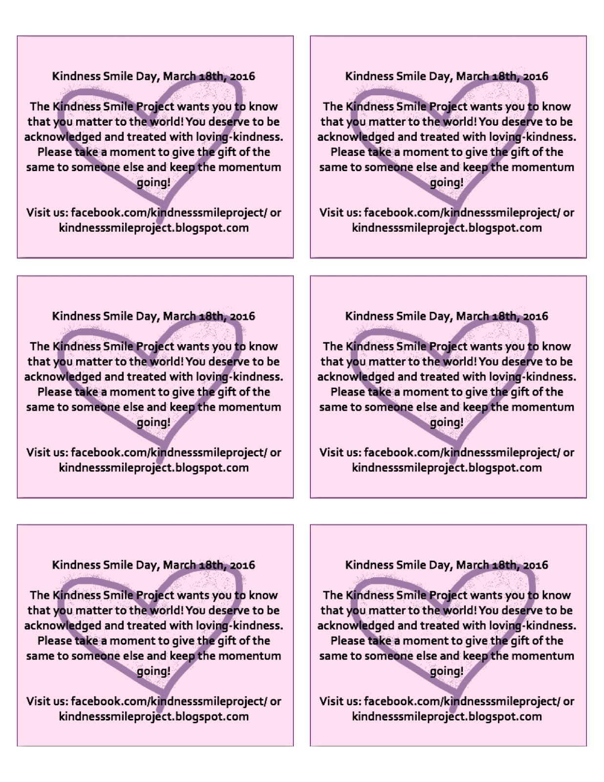 image relating to Kindness Cards Printable referred to as The Kindness Smile Task: Kindness Smile Working day is virtually