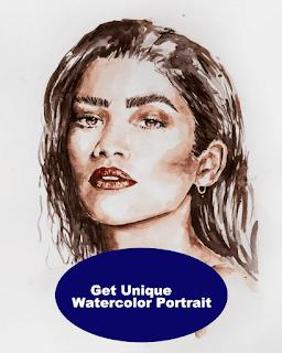 Get Unique watercolor portrait