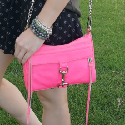 black printed shorts and Rebecca Minkoff neon pink mini MAC | awayfromtheblue