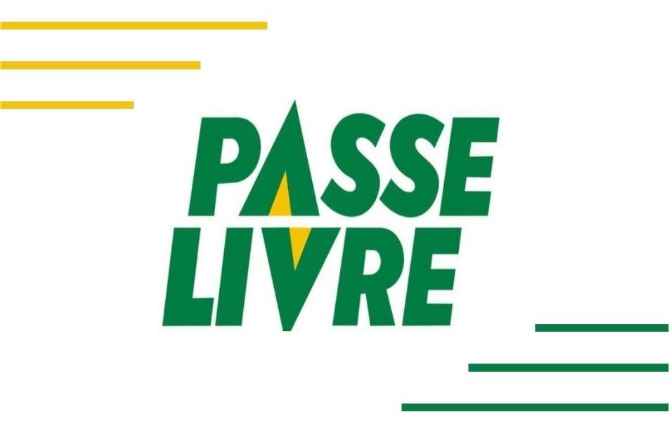A imagem traz um fundo branco com detalhes verde e amarelo e ao centro a frase: Passe Livre