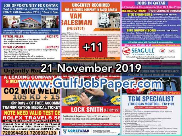 Gulf Overseas Jobs {21_Nov}