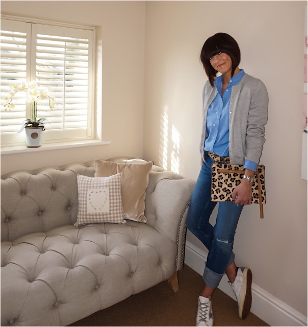 My Midlife Fashion, Kettlewell Colours Cotton Cashmere Cardigan, J Crew Ruffle Blouse, Leopard print belt, leopard print clutch, zara turn up boyfriend jeans, golden goose trainers