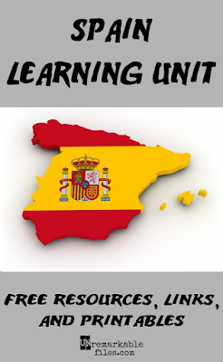Free printables, resources, links, videos, and educational activities to help kids learn all about the country of Spain! Incorporate these ideas into your homeschool or classroom geography unit study and make learning fun with these Spanish-themed activities. #spain #spanish #geography #unitstudy #homeschool #aroundtheworld #unremarkablefiles