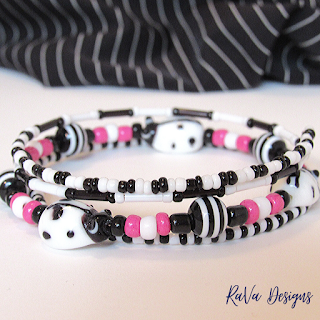 black pink white beaded bracelet pattern ideas funky rava designs