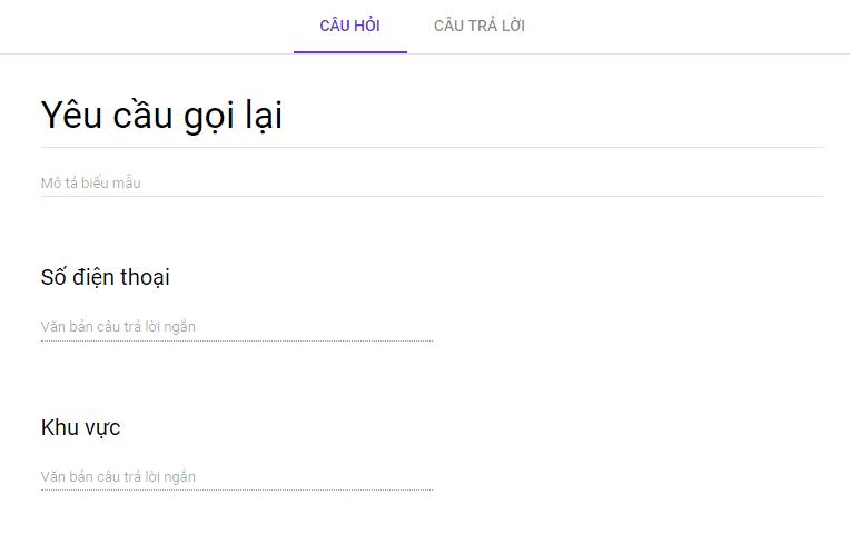 Tạo biểu mẫu yêu cầu gọi lại sử dụng google form