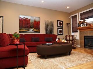 sala sofá rojo y marrón