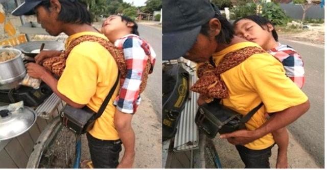 Istri Sudah Meninggal, Tukang Siomay Keliling Asal Lampung Selalu Gendong Anaknya Saat Jualan
