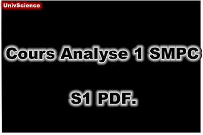 Cours Analyse 1 SMPC S1 PDF.