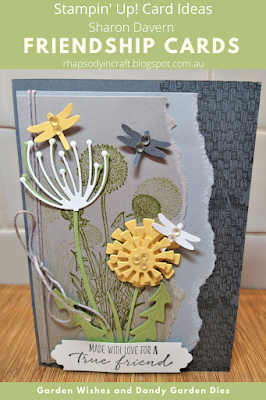 Rhapsody in craft, Basic Gray, Garden Wishes, Dandy Wishes Dies, Dragonflies Punch, Natural Textures, Friendship Cards, Annual Catalogue 2021-22, Stampin' Up, #colourcreationsbloghop2021, #colourcreationsbloghop!,
