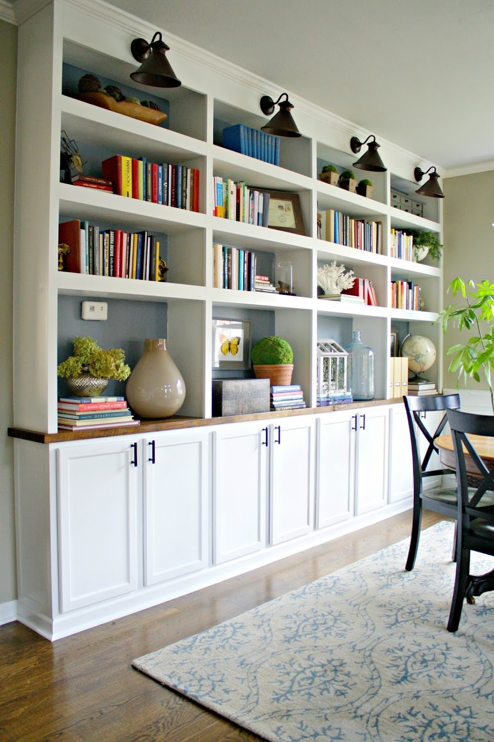 DIY bookcases from kitchen cabinets