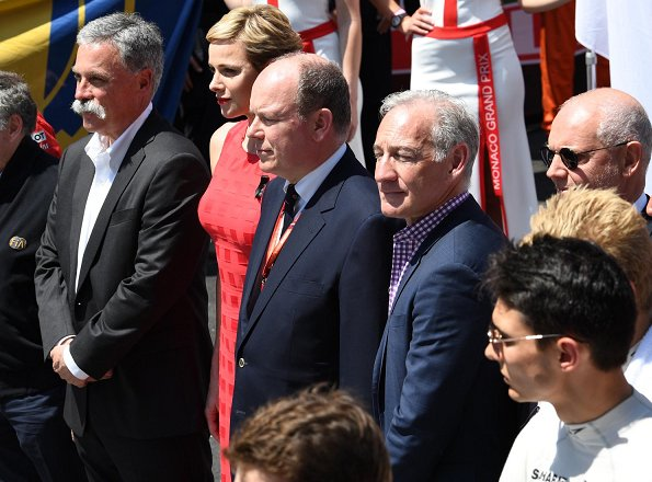 Prince Albert, Princess Charlene, Pierre Casiraghi, Beatrice Borromeo, Andrea Casiraghi, Tatiana Santo Domingo, Sasha and India at Monaco Formula 1 Grand Prix