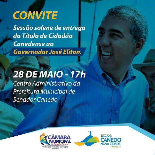 Governador José Eliton recebe Título de Cidadão Canedense