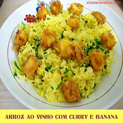 Arroz ao vinho com curry e banana