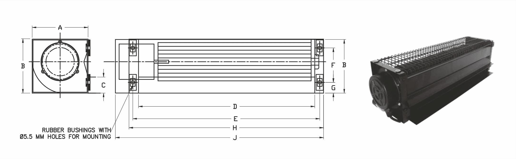 Dimensions - Cross Flow Fans