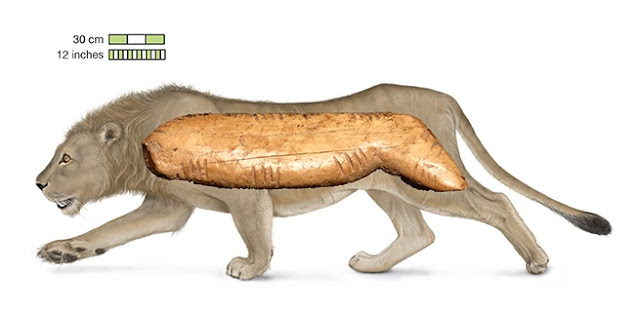 Cave lion figurine made of mammoth tusk found at Denisova Cave