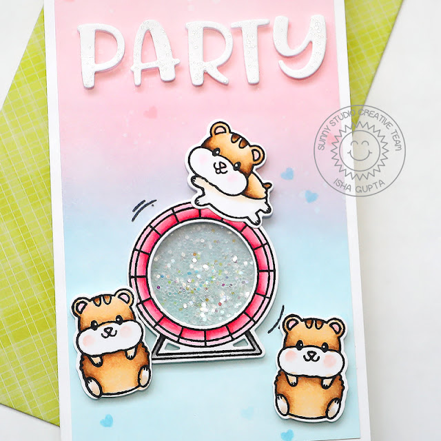 Sunny Studio Stamps: Happy Hamster Stitched Circle Dies Balloon Rides Critter Themed Birthday Card by Isha Gupta