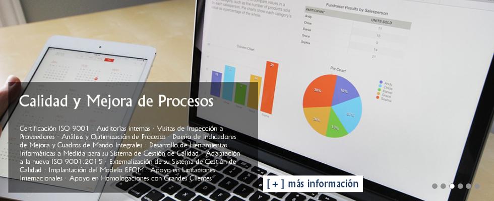 Gestión de Calidad ISO 9001: Auditorías internas · Visitas de Inspección a Proveedores · Análisis y Optimización de Procesos · Diseño de Indicadores de Mejora y Cuadros de Mando Integrales · Desarrollo de Herramientas Informáticas a Medida para su Sistema de Gestión de Calidad · Adaptación a la nueva ISO 9001:2015 · Externalización de su Sistema de Gestión de Calidad · Implantación del Modelo EFQM · Apoyo en Licitaciones Internacionales · Apoyo en Homologaciones con Grandes Clientes.
