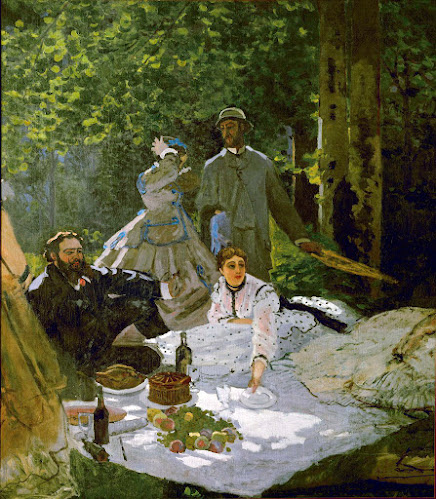 Monet's Garden Party - Le déjeuner sur l'herbe (right section), 1865–1866, with Gustave Courbet, Frédéric Bazille and Camille Doncieux, first wife of the artist, Musée d'Orsay, Paris