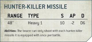 misil cazador asesino 9a edición 40k