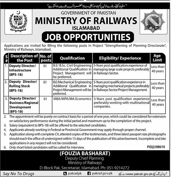 Ministry of Railways Islamabad Jobs