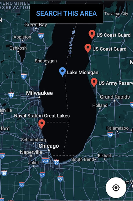 Map of Lake Michigan and surrounding area military bases.