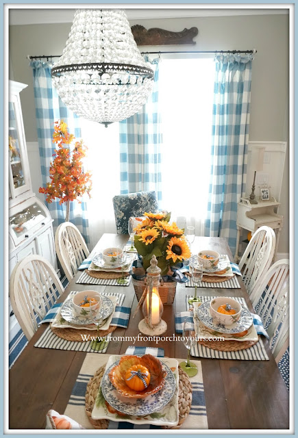 Farmhouse Cottage Style Fall Dining Room-Blue & White-Buffalo Check-From My Front Porch To Yours