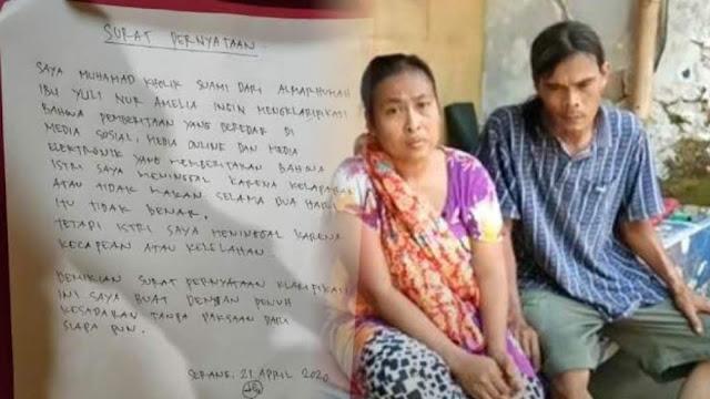 Beredar Surat dari Suami Yuli: Istri Saya Meninggal karena Kelelahan bukan Kelaparan, Warganet Curiga Ada Tekanan