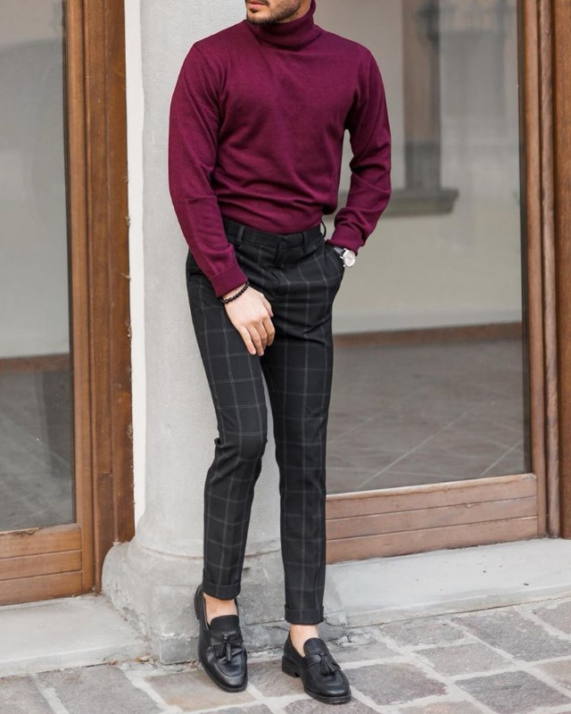 Wine color highneck and black trousers.