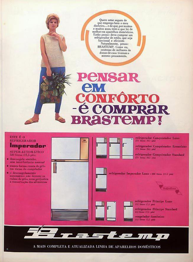 Propaganda antiga da Brastemp apresentando sua linha de refrigeradores nos anos 60